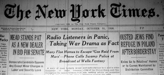 War of the Worlds broadcast causes panic